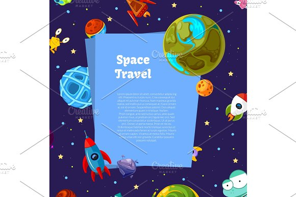 Vector Background With Place For Text With Cartoon Space Planets And Ships