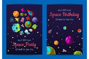 Vector space birthday party invitation templates with space elements, planets and ships