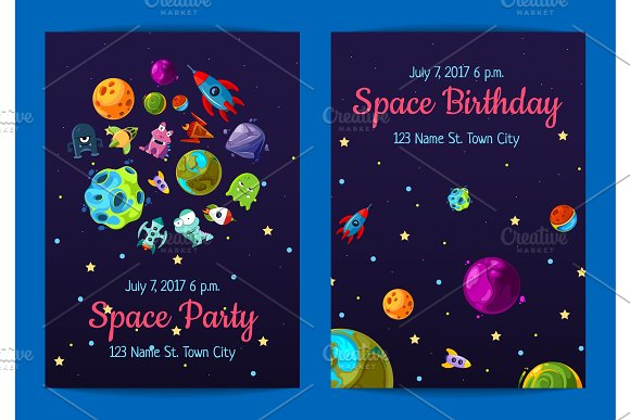 Vector Space Birthday Party Invitation Templates With Space Elements Planets And Ships