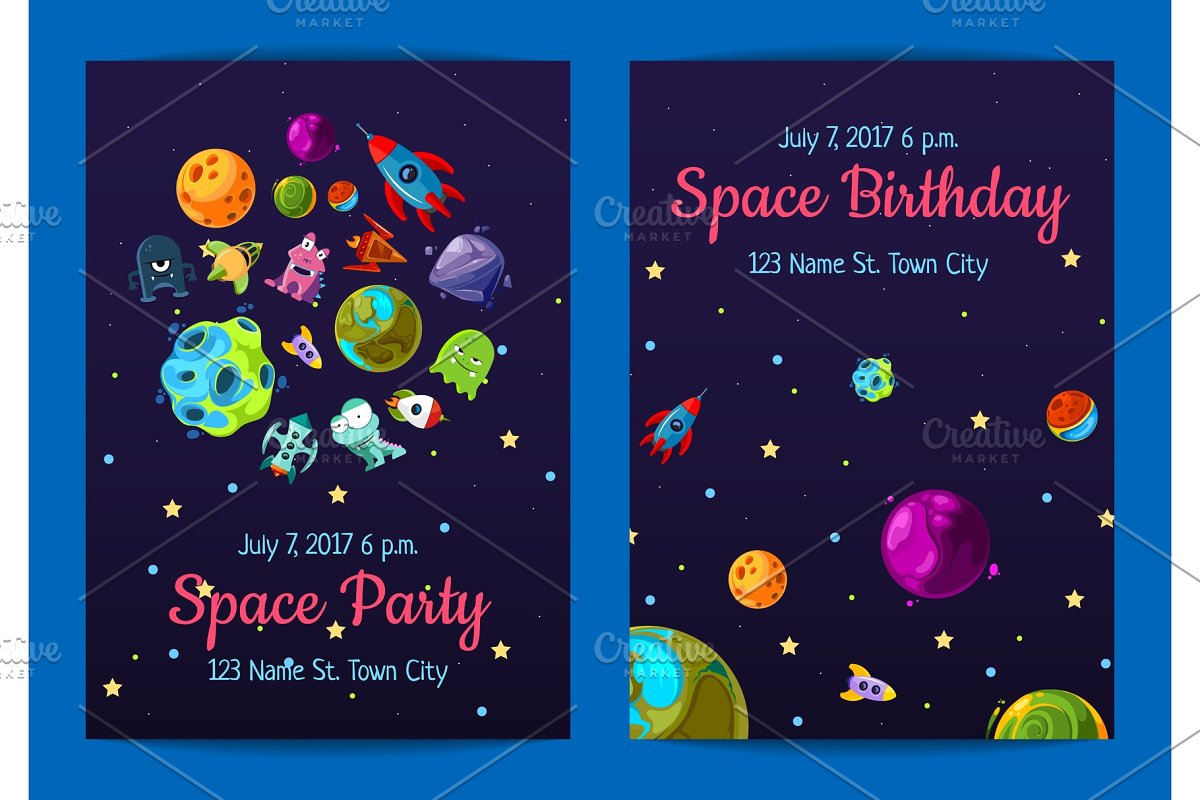 Vector Space Birthday Party Invitation Templates With Elements Planets And Ships