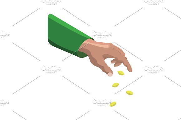 Color Vector Hand Sowing Seeds