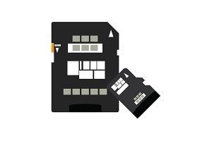 SD card icon, memory card, micro SD