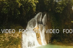 Beautiful tropical waterfall. Philippines Siargao island.