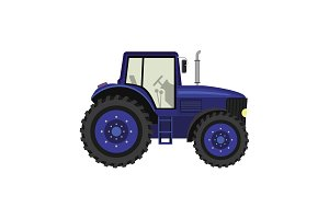 Color image. Tractor on a white