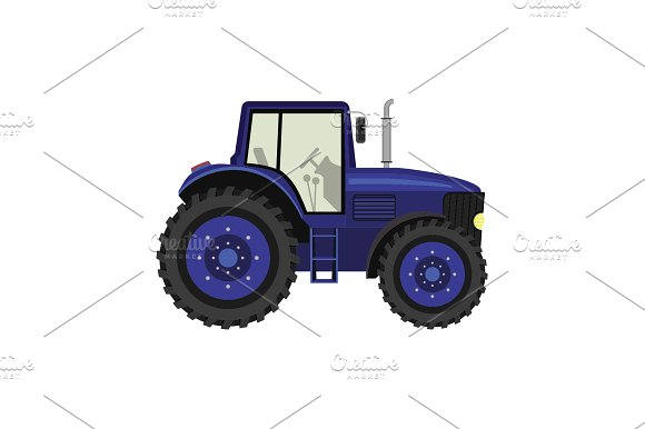 Color Image Tractor On A White