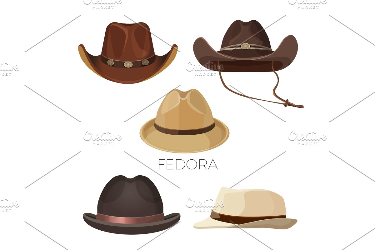 367928b678542 Fedora and cowboy hats of brown and beige colors set ~ Illustrations ...