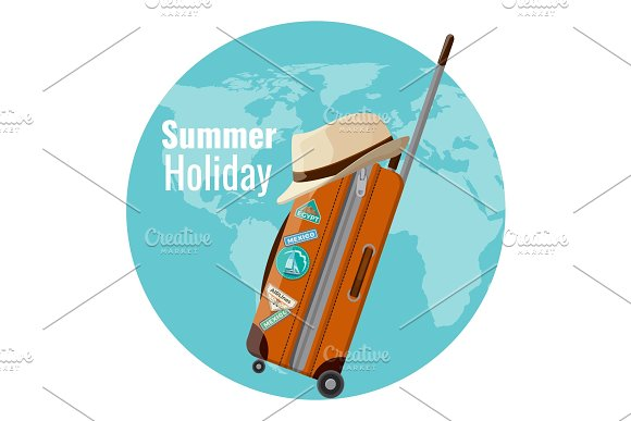 Summer Holiday Promo Banner With Suitcase And Hat