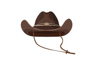 Vintage cowboy hat with lace in dark brown color
