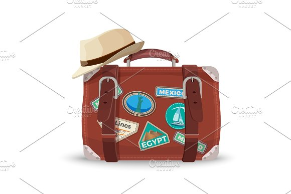 Retro Suitcase With Travel Stickers And Fedora Hat