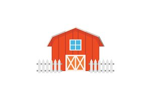 Color image. Barn on a white