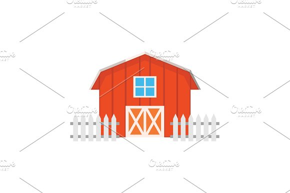 Color Image Barn On A White
