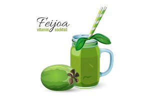 Feijoa Fresh Fruit Cocktail in Glass Jar Vector Illustration