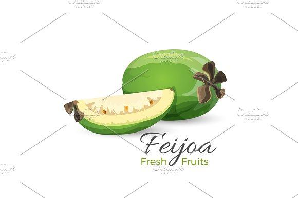 Feijoa Fresh Fruits Whole And Cut Vector Illustration I