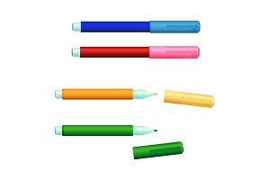Set of color markers fineliner felt-tip pens with covers