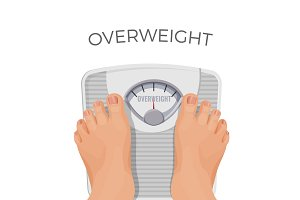 Overweight human with fat feet on scales isolated on white.