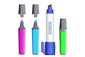 Highlighters broad felt-tipped pens with covers vector illustration