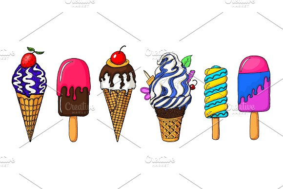 Realistic Sweet Ice Cream With Caramel And Waffle Cone Chocolate And Lollipops And Strawberry Fruit Jelly And Watermelon Holiday Colors In Modern Style Engraved Hand Drawn Vintage Sketch