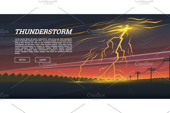 Lightning Strike And Rain Thunderstorm Day In The Valley Background Thunder Bolt Sparkle Flash Glow Effect Night Cityscape Realistic Urban Landscape Summer Storm Natural Disaster Or Cataclysm