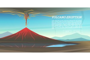 Active volcano eruption with leaky magma Background. Natural disaster or cataclysm. Blowing up in the park. Fuming lava with smoke, ash and fire. Mountain landscapes. design for poster, web and card.