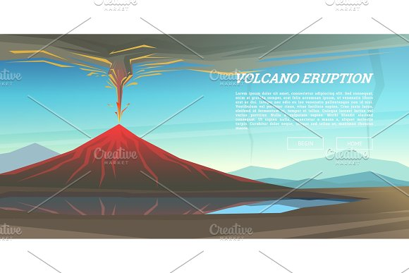 Active Volcano Eruption With Leaky Magma Background Natural Disaster Or Cataclysm Blowing Up In The Park Fuming Lava With Smoke Ash And Fire Mountain Landscapes Design For Poster Web And Card
