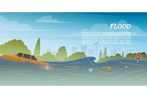 Flood or natural disaster in city concept. Floating garbage and car during deluge in high water, overflow and big waves. Time of evacuation during cataclysm. Landscape Background for poster or card.