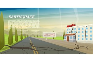 Realistic earthquake with ground crevice and ruined house with crack. Natural disaster or cataclysm, catastrophe and crisis. Earth fault. Landscape Background for poster or card. Vector illustration.