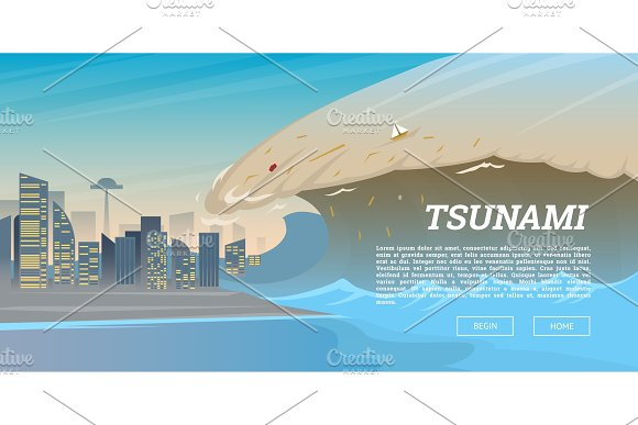 Tsunami On Tropical Beach Big Waves And Ocean Surface Landscape Flood And Disaster City On Seashore Summer Vacation And Catastrophe Natural Cataclysm Crisis High Water And Big Waves Background