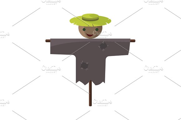 Color Image Scarecrow On A White