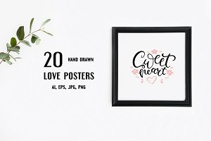 Hand drawn love posters