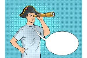 Mentally ill man as pirate Napoleon pop art vector