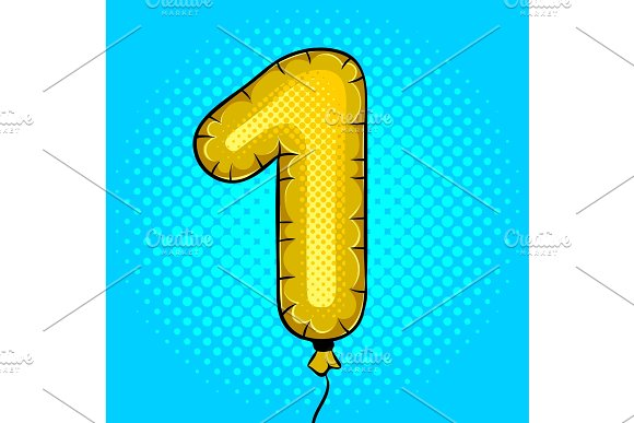 Air Balloon In Shape Of Number 1 Pop Art Vector