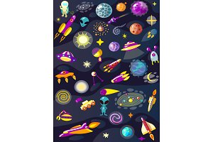 Cartoon space set elements vector illustration