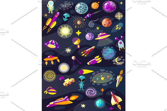 Cartoon Space Set Elements Vector Illustration