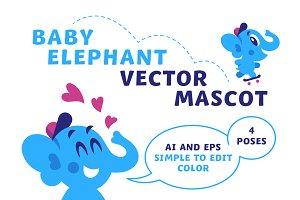 Baby Elephant. Vector mascot.