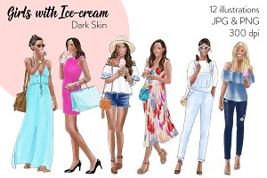 Girls with Ice-cream - Dark Skin