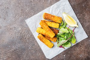 Crumbed fish fingers