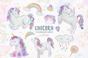 Unicorn clipart. Watercolor