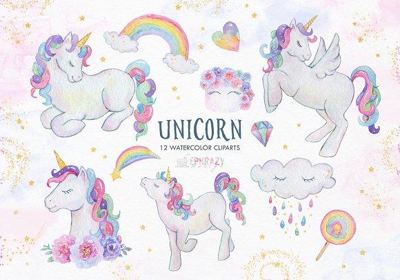 Unicorn Clipart Watercolor