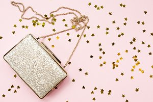 Festive golden clutch with sprinkles