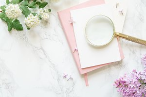 Flatlay in pink color