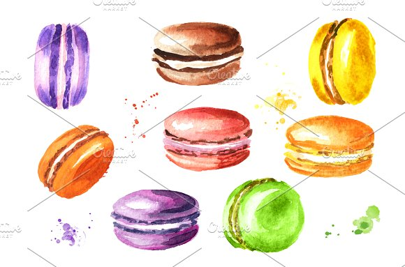 Macaroon French Cookies Watercolor