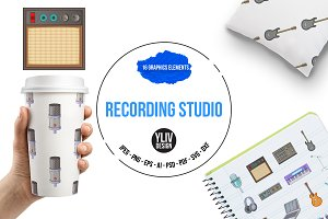 Recording studio icons set, cartoon