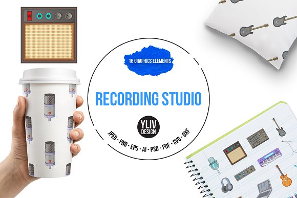 Recording Studio Icons Set Cartoon