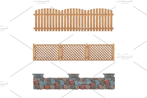 Fences Collection Wooden Stone And Plastic Fence