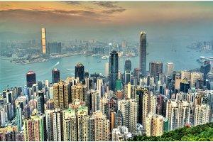 Panorama of Hong Kong in the evening, China