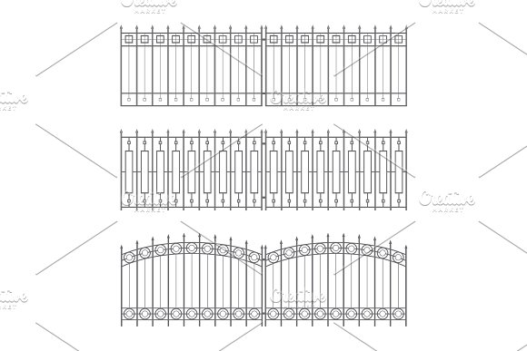 Sketches Of Fences Drafts Outline Design Collection