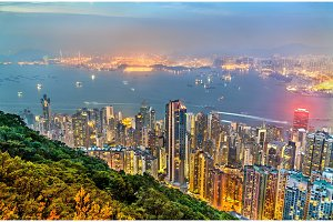 Panorama of Hong Kong Island in the evening, China