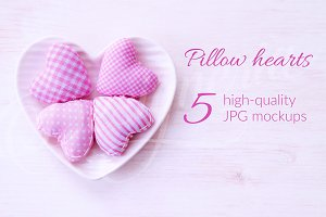 Pillow hearts pastel mockup bundle