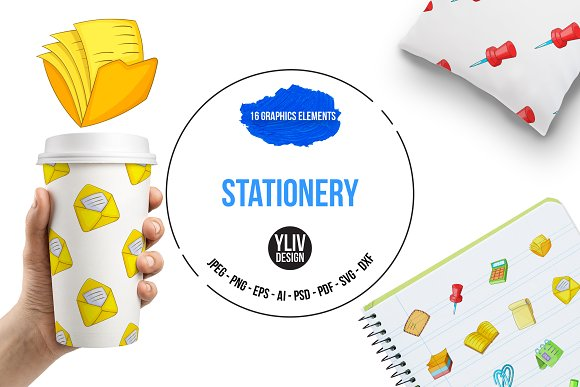 Stationery Icons Set Cartoon Style