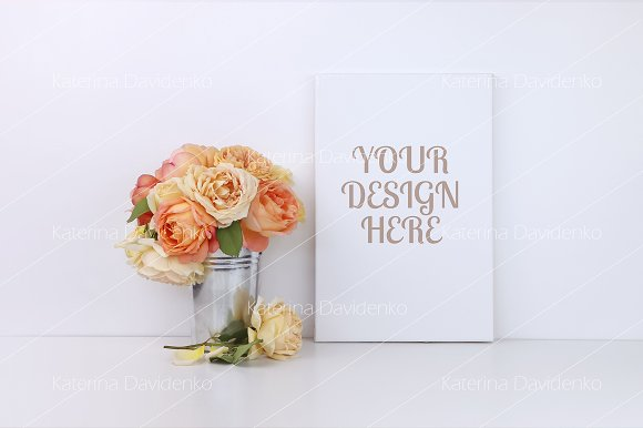 Canvas Mock Up Roses Smart Object